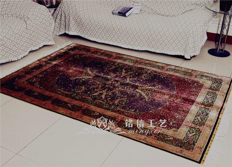 5'x7. 5' tapis de soie persan fait main rouge tapis de zone de tissage à la main