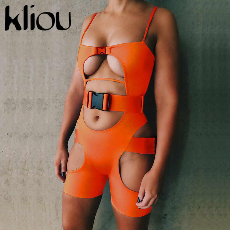 Kliou женский сексуальный комбинезон с вырезами и ремнем без рукавов с открытой спиной сексуальный женский комбинезон 2019 летний модный обтягивающий комбинезон