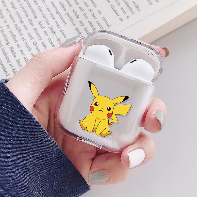 Cute Cartoon Pikachue Transparent Hard Case For Apple Airpods 1 2 Wireless Bluetooth Headphones Earphones Protective Cover Skin