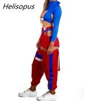 Helisopus 2018 Autumn Women's Casual Pants Side Hollow Split Streetwear Trousers Women High Waist Patchwork Sweatpants