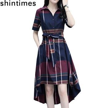 цена на Vestidos 2019 Summer Elegant Asymmetrical Hem Dress Bodycon Short Sleeve Turn-down Collar Party Plaid Women Dresses Plus Size