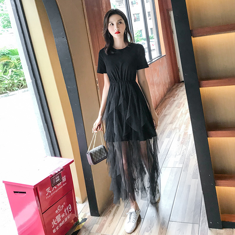 Fashion Spring 2019 Long Pleated dress Summer Casual Women High Waist Elascity Free shipping