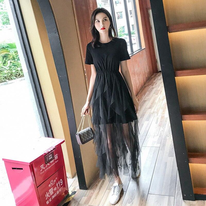 Moda Primavera 2019 Mulheres Casuais Cintura Alta Elascity Longa Plissada vestido de Verão Frete grátis
