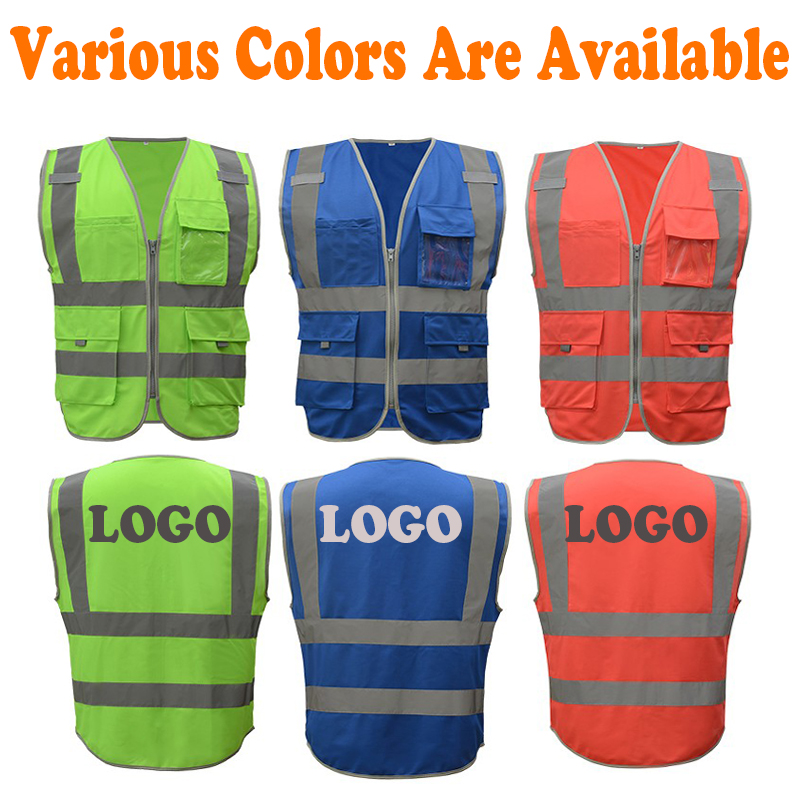 Safety Clothing Reflective Polyester Mesh Vests With Pockets For Construction Worker In Summer Silk Screen Company Logo Printing Workplace Safety Supplies