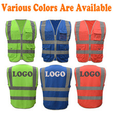 SF-VM1027 High Visibility Waistcoat Reflective Safety Vest Mens Construction Worker Night Runner Cyclist Silk Screen Logo Print(China)
