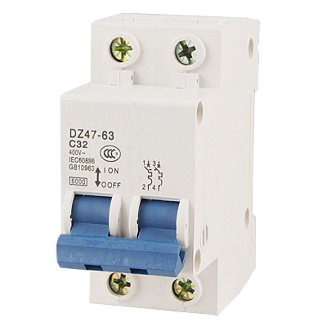 цена на DZ47-63 C32 AC 400V 32A 6000A 2 Poles DIN Rail Mount Miniature Circuit Breaker
