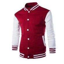 New Men/Boy Baseball Jacket Men 2018 Fashion Design Wine Red Mens Slim Fit College Varsity Jacket Men Brand Stylish Veste M-XXL animal 3d print varsity stripe trim zippered men s jacket