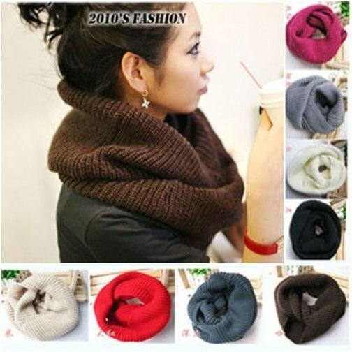 Унисекс зима вязание шерсть воротник шея теплее шарф шаль
