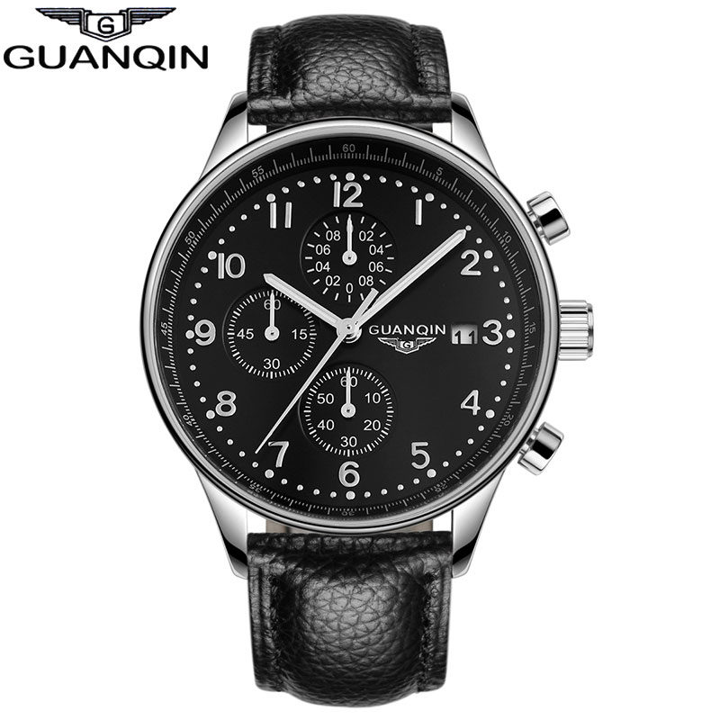 ФОТО GUANQIN GQ20141 New Fashion Luminous Leather Strap Multifunction Watches Men Quartz Watch Waterproof Wristwatches  Relojes
