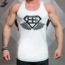 SJ 2017 Fitness Men Tank Top Mens Bodybuilding Stringers Elastic Cotton Singlet Brand Clothing