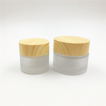 100pcs 10ml 15ml Frosted Glass Sample Cosmetic Jars with Bamboo Lids