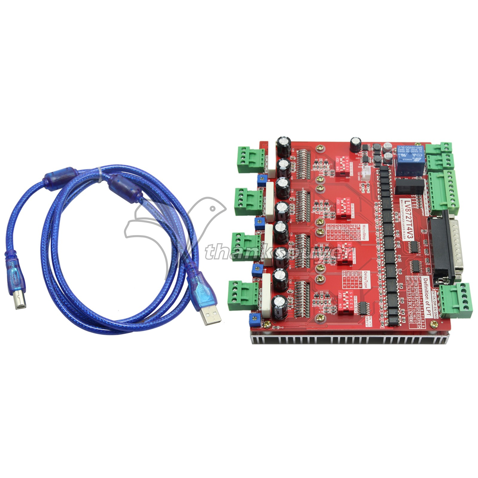 ФОТО LV8727 CNC Four Axis 4 Axis Stepper Motor Driver Controller Board w/ DB25 Parallel Cable for MACH3 KCAM4