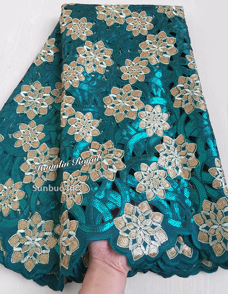 5 yards teal green Gold African Handcut lace organza fabric Shinny Nigerian party clothes with lots