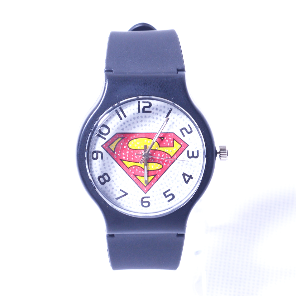 Cartoon Superman Watch Men Watches Fashion Silicone Quartz Wrist Watch Kids Clock for Children Christmas gift erkek kol saati 2016 fashion lady wrist watch casual silicone watches with quartz unisex wristwatches for men women gift silicona children mujer