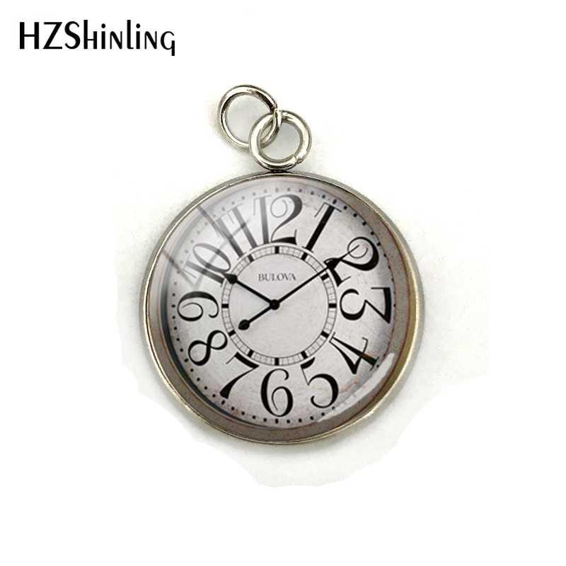 Винтажные часы лица кулон из кабошона Подвески ручной работы ретро часы узоры покрытие из нержавеющей стали Шарм ожерелье украшения