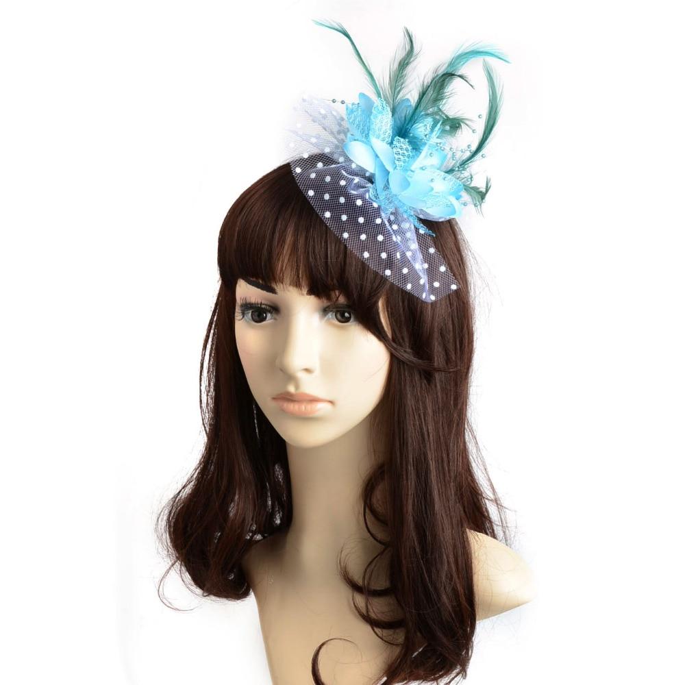 Brand New Blue Net Organza Feather Flower Corsage Hair Clip for Girls Gift Brooch Pin Hairpins Wedding Brides Hair Accessories