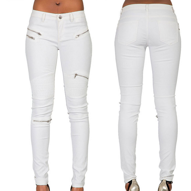 2018 Womens New Sexy White Pu Leather Coated Denim Pants -1916