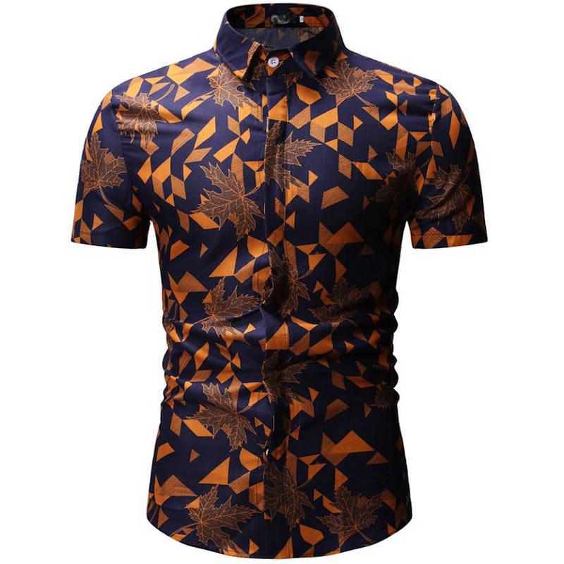 Men Shirt Summer Style Palm Tree Print Beach Hawaiian Shirt Men Casual Short Sleeve Hawaii Shirt Chemise Homme European Size 3XL