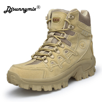DJSUNNYMIX Men Military Tactical Boots Desert Combat Outdoor boots Army Hiking Travel Botas Leather Autumn Ankle Boots