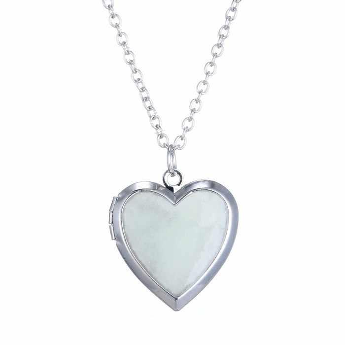 Светится в темноте ожерелье для женщин фото медальон винтажное ФЛУОРЕСЦЕНТНОЕ сердце ожерелье кулон ювелирные изделия Плавающие очаровательные подарки