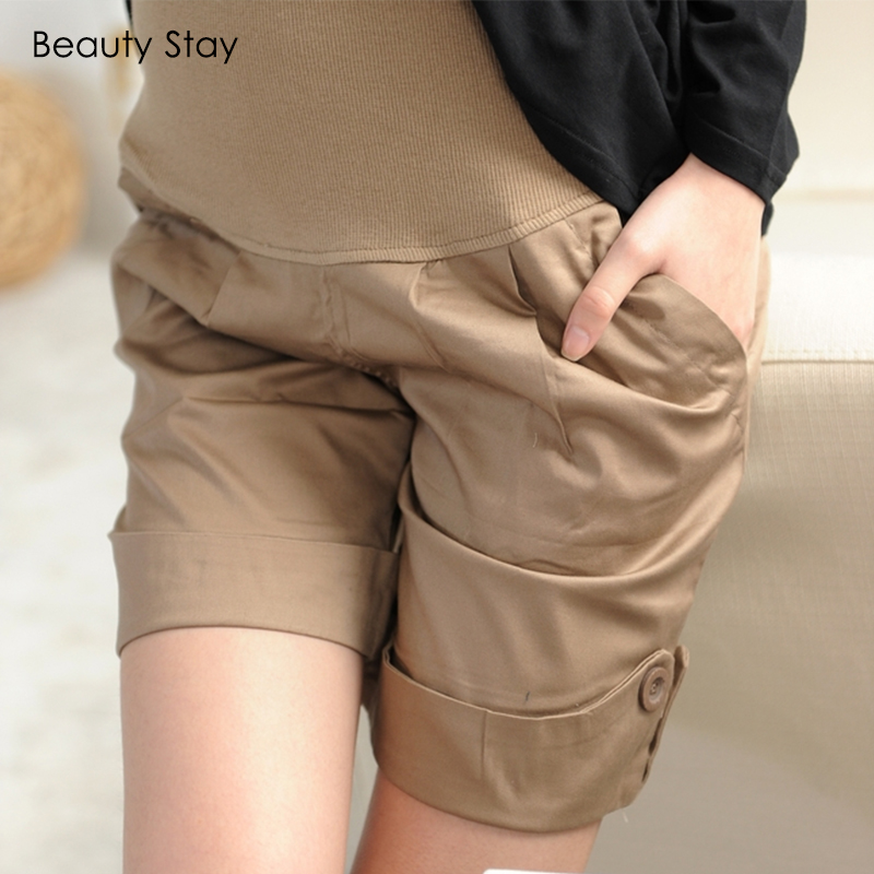 BeautyStay Casual Pregnant Women Abdominal Short Pants Lady Comfortable Loose Care Belly Trousers High Waist Maternity Shorts
