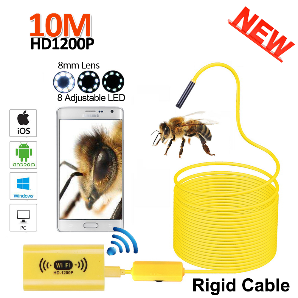 2MP 10M WIFI Snake Rigid Endoscope Camera HD1200P 8mm Len Wireless WIFI Android iPhone IOS USB Pipe Inspection Borescopes Camera 2017 new 8led 7m hard flexible snake usb wifi android ios iphone endoscope camera iphone borecope pipe inspection hd720p camera