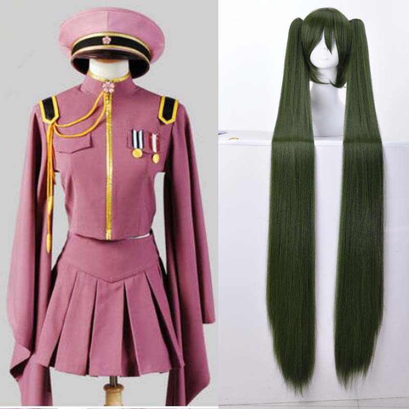 Anime Hatsune Miku Cosplay Wig Vocaloid Hatsune Miku Senbonzakura Kimono Uniform Dress Outfit Anime Cosplay Costumes Whole Set