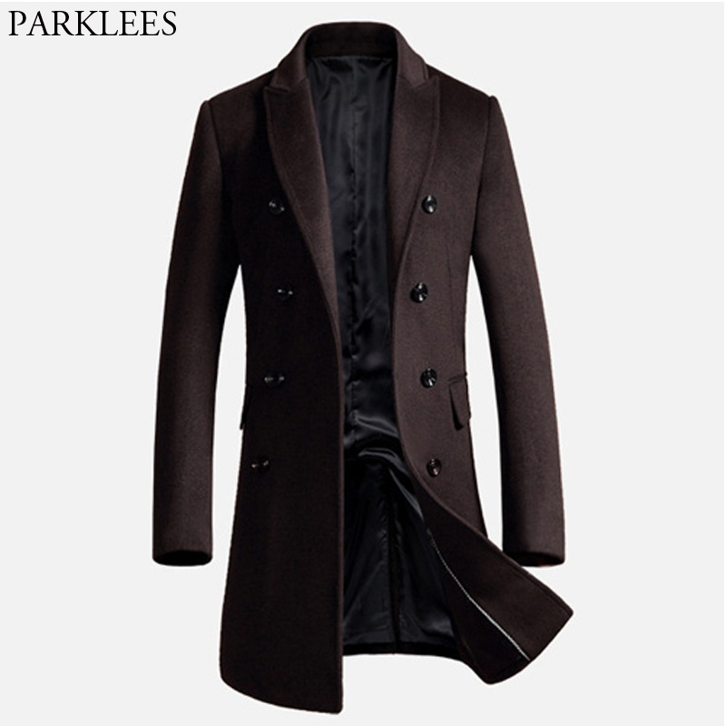 Men's Long Trench Coat 2017 Winter Men Wool Coat Slim Fit Cashmere Overcoat Jackets Man Double Breasted Peacoat Abrigo Hombre