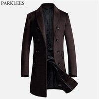 Men's Long Trench Coat 2017 Winter Men Wool Coat Slim Fit Cashmere Overcoat Jackets Man Double Breasted Peacoat Abrigo Hombre
