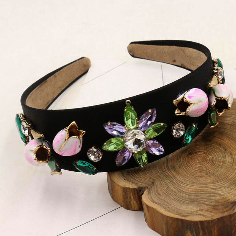 2017 vintage baroque metal crystal flower velvet wide hair bands royal lace gem rhinestone pearl headband women hair accessories metting joura bohemian cream lace flower pearl crystal rhinestone headband hairdband hair accessories