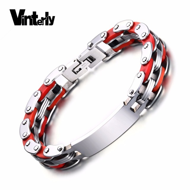 Vinterly Mens Id Bracelet Punk Red Silicone Stainless Steel Personalized Engrave Bike Chain Link Bangle
