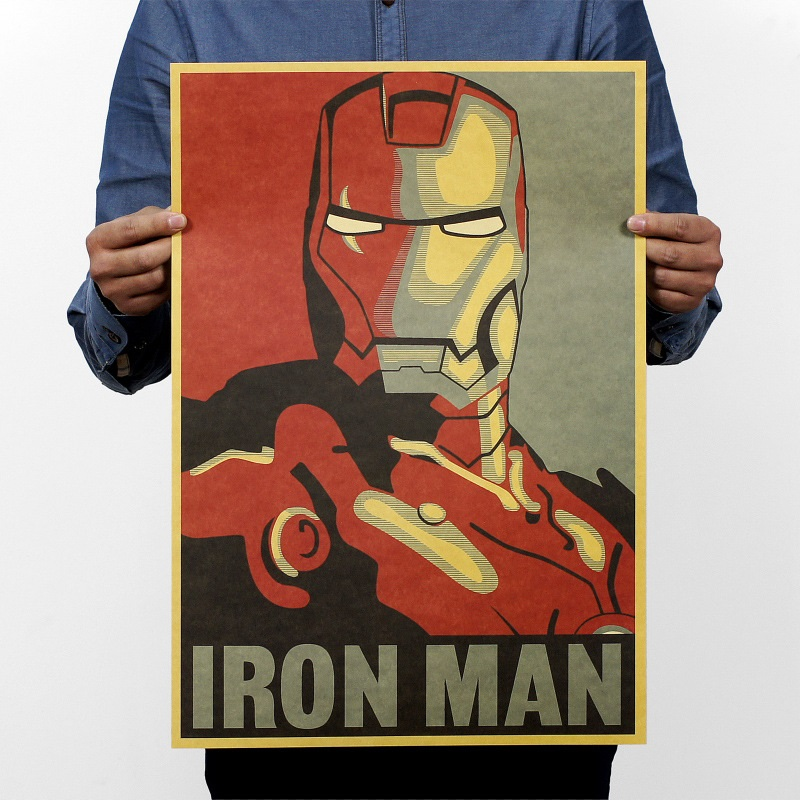 1 PCS Iron Man Comic Avatar Vintage Poster Cartoon Posters Hollywood Retro Kraft Paper Adornment Movie Posters College 51x36cm