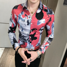 Mens long-sleeved shirt mens autumn new Korean version of the trend handsome youth thin section social guy flower