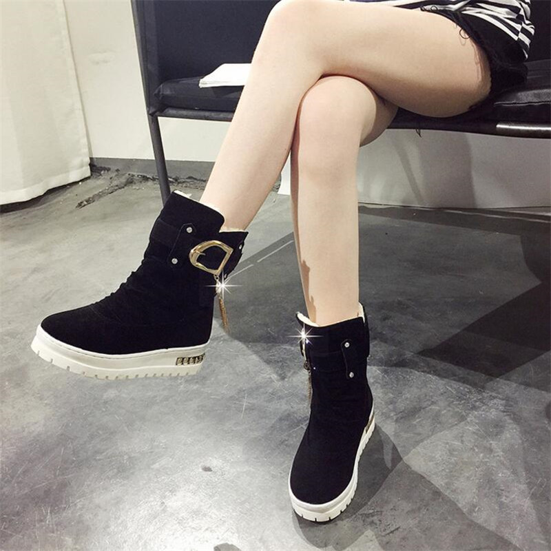 ELGEER 2018 new winter flat bottom tube slip plus velvet warm cotton shoes suede boots Women 39 s snow boots female in Ankle Boots from Shoes