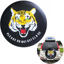 Cartoon Tiger Spare Wheel Cover Car Black 14 15 16 17inch  PVC PU Tire Tyre Valve Covers For Cars Accessories
