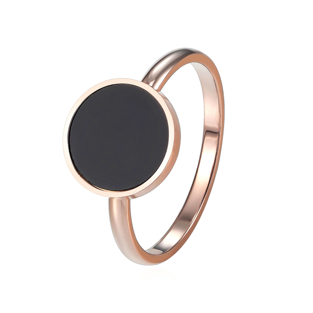New Design Brand Ring For Women Titanium Steel Black Enamel Three Wide Rose Gold