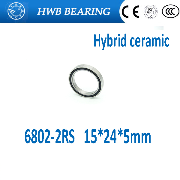 Free shipping 6802-2RS bearing steel hybrid ceramic deep groove ball bearing 15x24x5mm 6802 2RS 6802RS