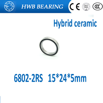 Free shipping 6802-2RS bearing steel hybrid ceramic deep groove ball bearing 15x24x5mm 6802 2RS 6802RS image