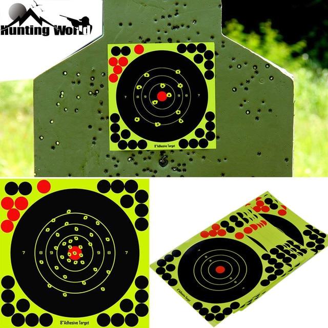 "Caça 8 ""reativo splatter auto adesivo alvo adesivos fluorescentes amarelo tiro prática adesivos para airsoft arma rifle"