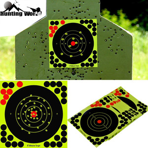 """Image 1 - Jagd 8 """"Reaktiven Splatter Selbstklebende ziel aufkleber Fluoreszierende Gelb schießen Praxis aufkleber für Airsoft Gun Gewehr"""