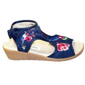 Image 5 - Chaussure de plage Vintage pour femmes, motif Floral, broderie, style bohème, chaussures plates, à bout ouvert, collection sandales décontractées