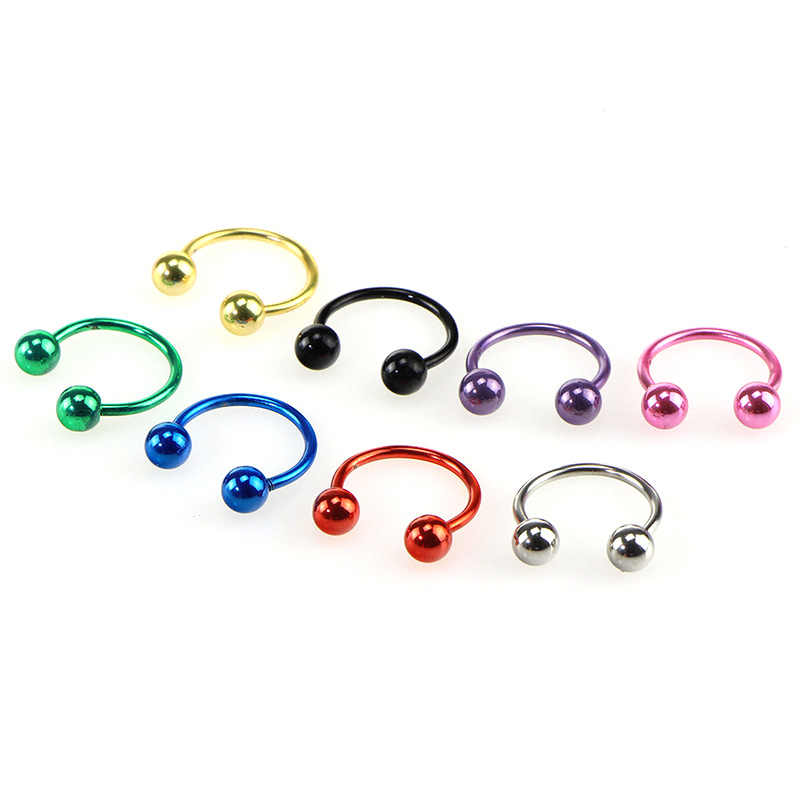 KLEEDER 9 Colors Horseshoe Fake Nose Ring Horseshoe Bar Circular Barbell Lip Nose Septum Ear Ring Piercing  Body Jewelry