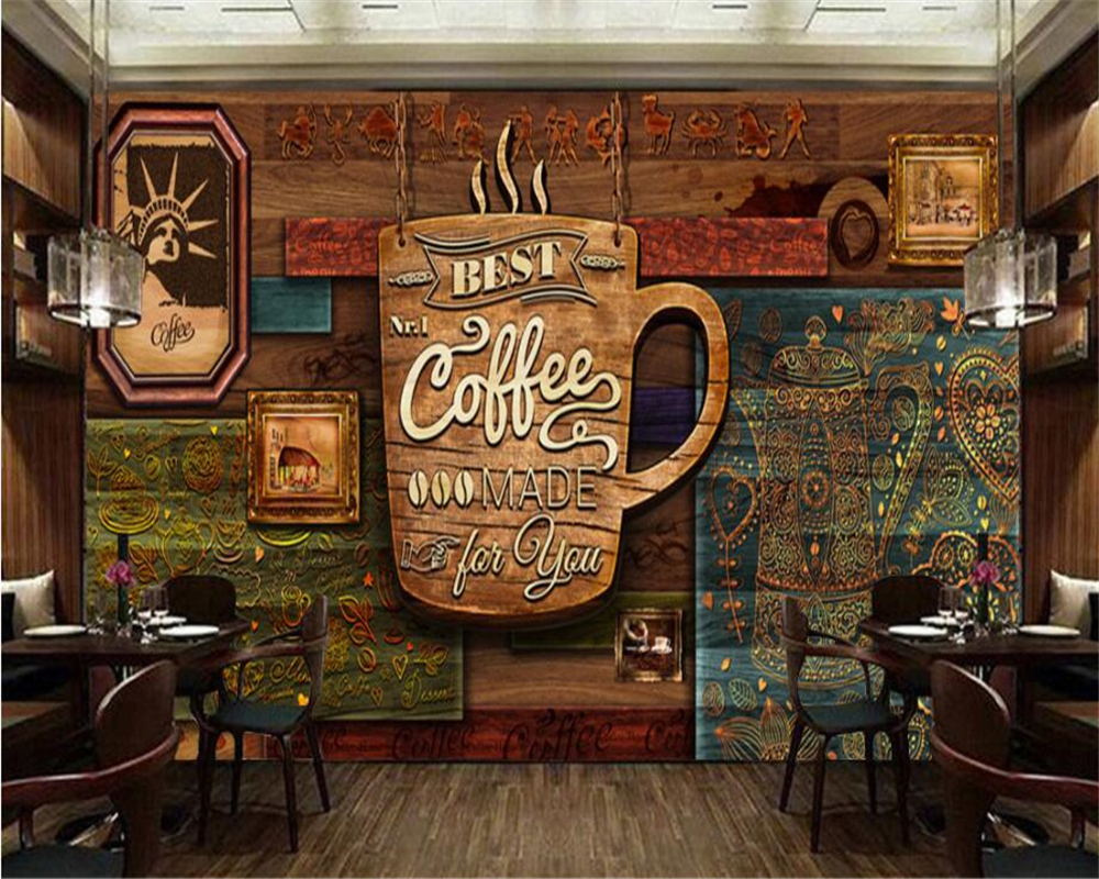 Photo Wall Mural Wallpaper Custom Hd Hand Painted Retro Cafe Hotel