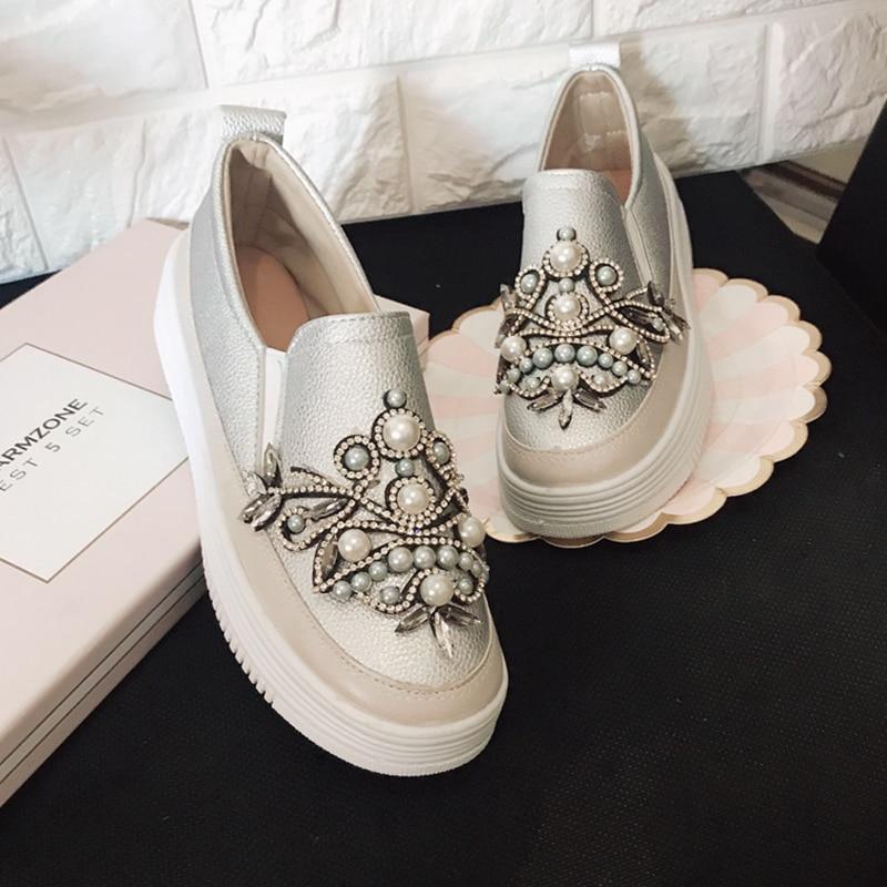 Épaisse Une Nouvelle Lok Strass Paresseux Chaussures En Pédale Noir Semelle Femme Cuir Fu rose Perle Sauvage Petite Blanches AqIprqZ