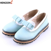 Fashion Party Shoes Spring Summer Women Round Toe Platform Flat Shoes With Bow 2017 Slip On