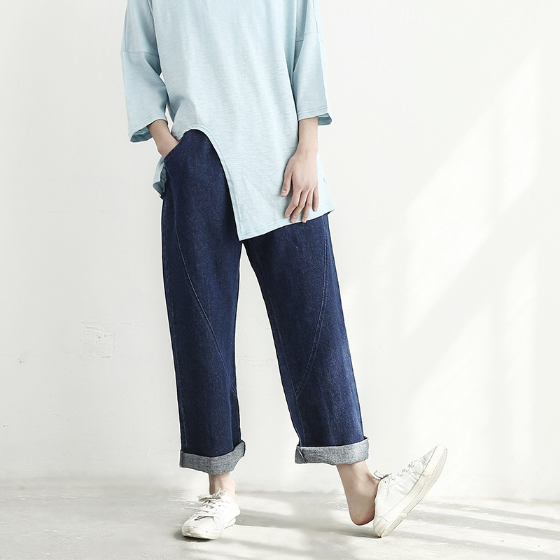 ФОТО Cotton Linen Women's Clothing 201S spring  Retro Wild Loose Stitch Jeans Straight Trousers Cowbody Pockets Elastic Waist Pants