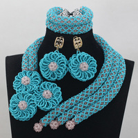 Luxury Royal Blue African Wedding Jewelry Set Clear White Costume Women Crystal Party Events Jewelry Accessories Free Ship QW770