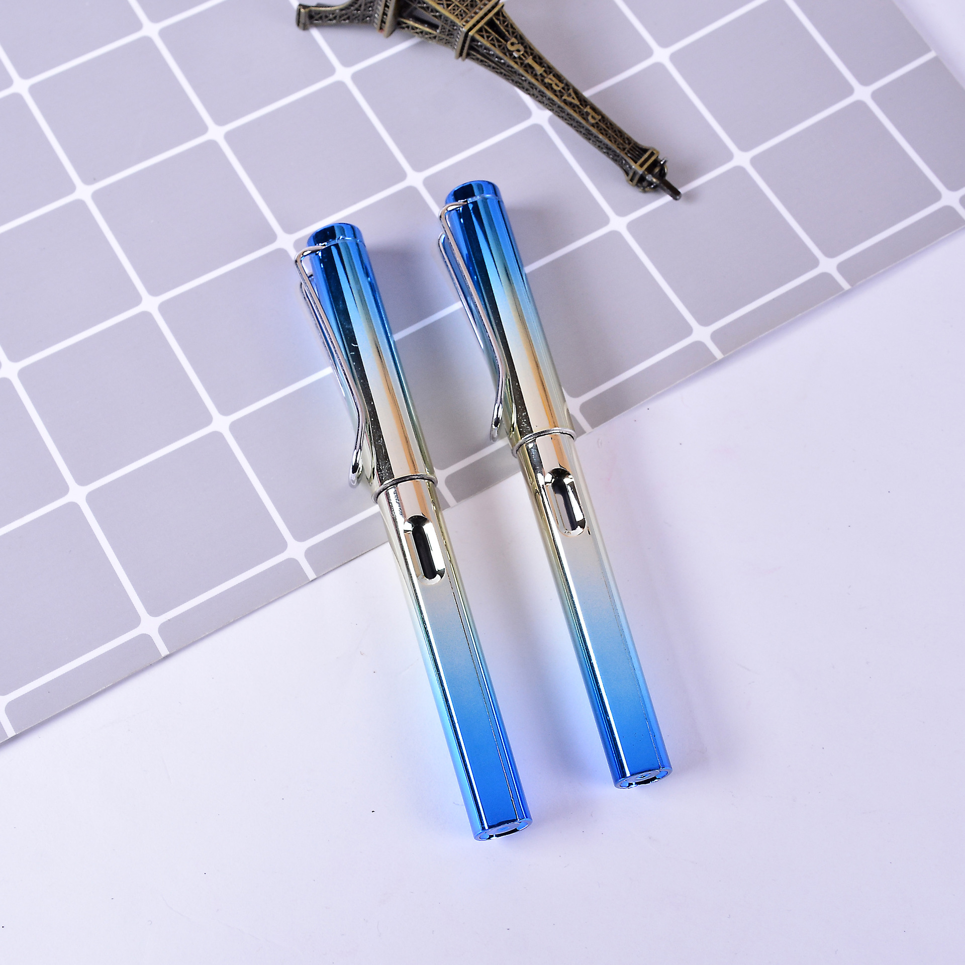 0 5mm Blue Gree Pink Purple Classic Stainless steel Business Medium Nib Fountain Pen Gold Trim School Student Office Stationery in Fountain Pens from Office School Supplies