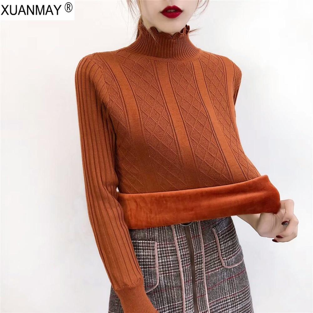 Autumn plus Thick Velvet Pullover sweater Velvet lining warm High necked Lined sweater Female Turtleneck Plus Velvet sweater
