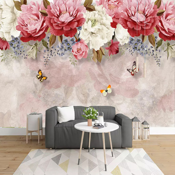 Custom Nordic Small Fresh Watercolor Flowers Idyllic Photo Mural Wallpaper 3D Bedroom Living Room Background Art Deco Wall Cloth